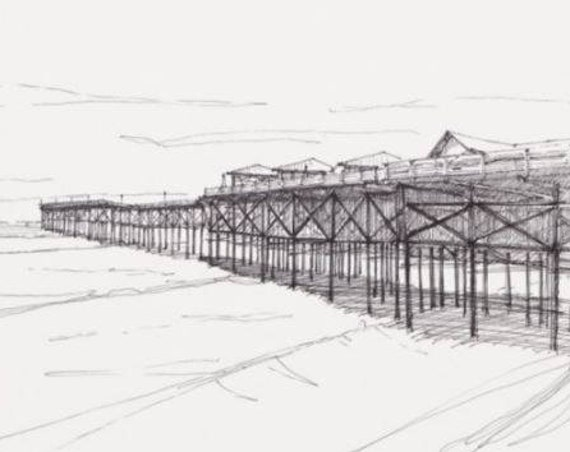 CRYSTAL PIER - San Diego, California, Beach, Pacific Ocean, Drawing, Pen and Ink, Architecture, Drawing, Sketchbook, Art, Drawn There