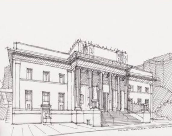 CORINTHIAN BALLROOM - San Jose, California, Wedding Venue, Architecture, Neo Classical, Pen and Ink, Drawing, Sketchbook, Drawn There