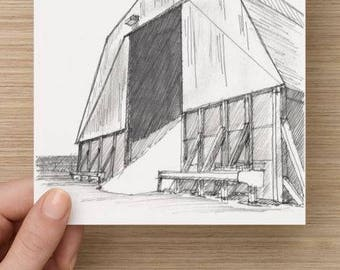 Ink Sketch of Road Salt Supply Barn - Drawing, Art, Architecture, Snow, Winter, Pen and Ink, 5x7, 8x10, Print