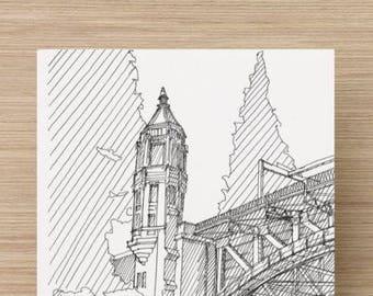 Ink Sketch of Montlake Bridge in Seattle, Washington - Drawing, Art, Engineering, Draw Bridge, Steel, Architecture, Pen and ink, 5x7, 8x10