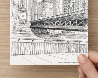 Ink Sketch of the Michigan Avenue Bridge in Chicago - Drawing, Art, Architecture, River, Urbansketcher, 5x7, 8x10, Print