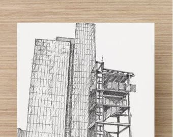 Ink sketch of Living Classrooms Observation Tower and Excelon Building - Drawing, Art, Architecture, Pen and Ink, Inner Harbor, 5x7, 8x10