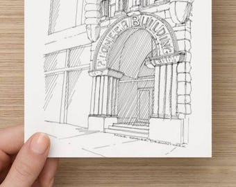 Ink Sketch of Pioneer Square Building in Seattle, Washington - Drawing, Art, Architecture, Arch, Columns, Historic, Pen and Ink, 5x7, 8x10