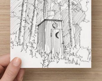 Ink sketch of Outhouse in Tioga County, Pennsylvania - Drawing, Art, Trees, Woods, Toilet, Architecture, Pen and Ink, 5x7, 8x10, Print