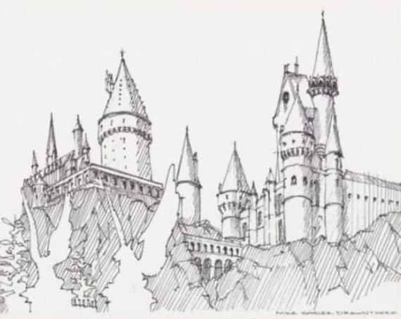Wizard Castle - Architecture, Fantasy, Drawing, Pen and Ink, Sketch, Art, Print, Gargoyle, Drawn There