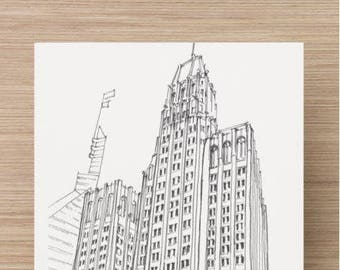 Ink sketch of Ten Light Street in Baltimore, Maryland - Drawing, Art, Architecture, Art Deco, Downtown, Building, Pen and Ink, 5x7, 8x10