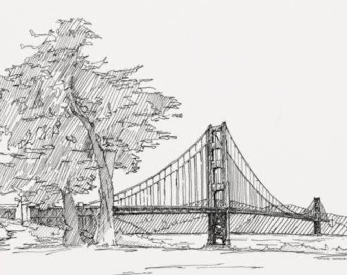 GOLDEN GATE BRIDGE - San Francisco, California, Bay, Pen and Ink, Drawing, Line Drawing, Art Print, Sketchbook, Drawn There