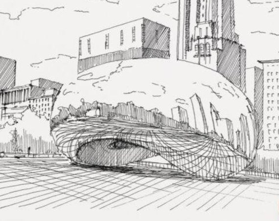 CLOUD GATE CHICAGO - The Bean, Public Art, Sculpture, Reflection, Millennium Park, Drawing, Pen and Ink, Sketch, Sketchbook, Drawn There