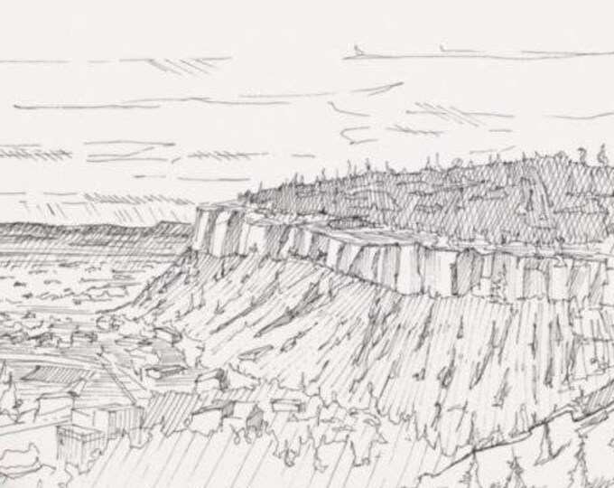 BILLINGS RIM ROCKS - Montana, Geology, Mountains, Drawing, Pen and Ink, Sketch, Plein Air, Landscape Drawing, Art, Print, Drawn There