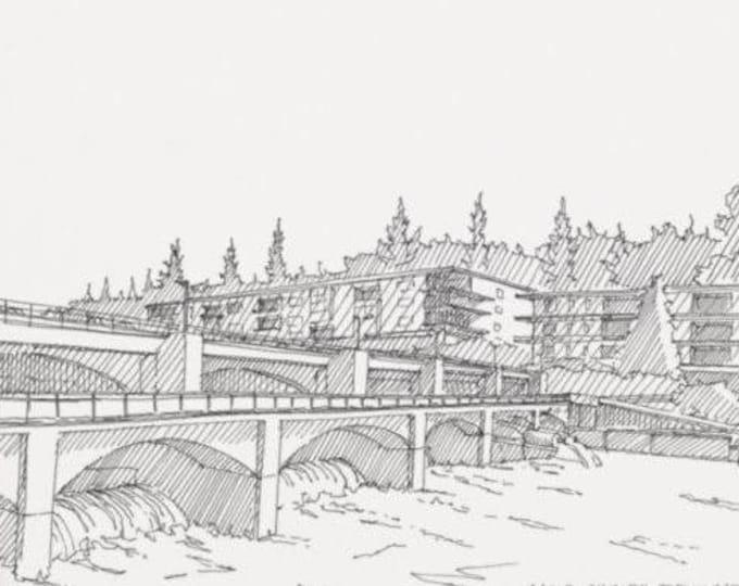 BALLARD LOCKS, Seattle, Washington -  Fish Ladder, Lake Union, Pen and Ink, Drawing, Sketchbook, Line Drawing, Art Print, Drawn There