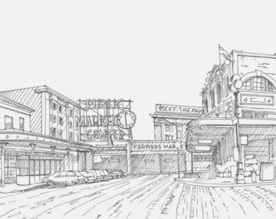 PIKE PLACE MARKET - Seattle, Washington, Drawing, Pen and Ink, Architecture, Sketchbook, Art, Drawn There