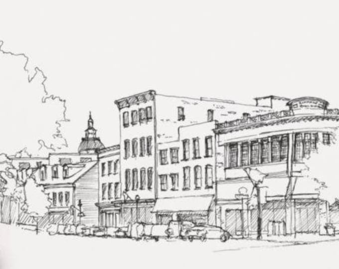 ANNAPOLIS, MARYLAND - Main Street, Downtown, Drawing, Art, Architecture, Buildings, Chesapeake Bay, Pen and Ink, Drawn There, Art Print