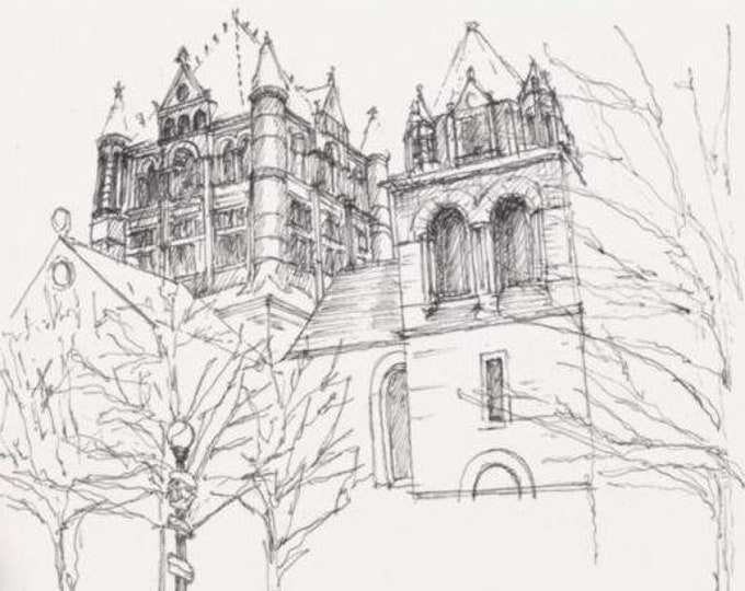 BOSTON TRINITY CHURCH - Massachusetts, Cathedral, Pen and Ink, Line Drawing, Architecture, Art Print, Drawn There