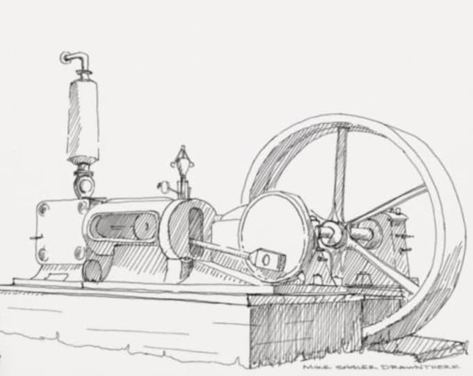 VINTAGE STEAM ENGINE - Technology, Power, Engineering, Line Drawing, Pen and Ink, Sketchbook, Art, Drawn There