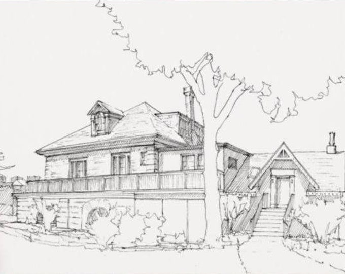 FAIRMOUNT BOATHOUSE - Rowing, Philadelphia, Schuylkill River, Boathouse Row, Drawing, Pen and Ink, Art Print, Sketchbook, Drawn There