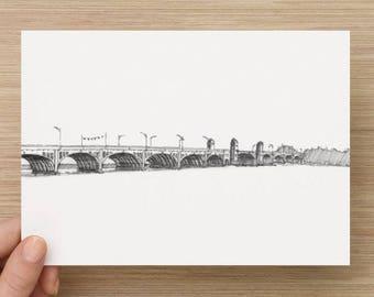 Ink sketch of the Hanover Street Bridge in Baltimore, Maryland - Drawing, Art, Landscape, River, Pen and Ink, Arch, 5x7, 8x10, Print