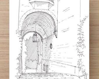 Georgetown Architecture - Washington DC, Ink Drawing, Sketch, 5x7 Print, Art, Drawing, Illustration, Architecture, Arch, Barrel Vault, Brick
