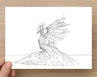 Ink Drawing of Phoenix at Burning Man 2017 - Bird, Wood, Sculpture, Sketch, 5x7, 8x10, Print, Art, Drawing, Illustration, Black Rock City