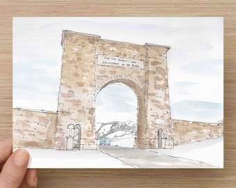 Watercolor Painting of Yellowstone Entry Arch - Stone, National Park, Gate, Ink Drawing, Sketch, Watercolor, Art, Pen and Ink, 5x7, 8x10