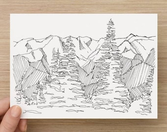 Ink Sketch of Olympic Mountain Range in Washington - Drawing, Art, Trees, National Park, Snow Covered, Landscape, 5x7, 8x10, Print