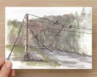Ink and Watercolor Drawing of River Cable Crossing on Frying Pan River - Dallenbach Ranch, Painting, Sketch, Art, 5x7, 8x10