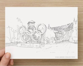 Ink Sketch of Olympic Rings in Whistler, BC, Canada - Drawing, Art, Architecture, Games, Ski, Winter, Pen and Ink, 5x7, 8x10, Print