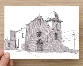 Ysleta Mission in El Paso, Texas - Architecture, Church, Line Drawing, Black and White, Ink Drawing, Sketch, Art, Pen and Ink, 5x7, 8x10
