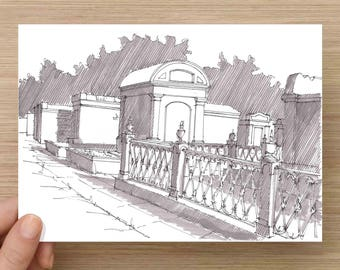 Lafayette Cemetery in New Orleans, Louisiana - Ink Drawing, Sketch, Black and White, Historic, Art, Pen and Ink, 5x7, 8x10, Print