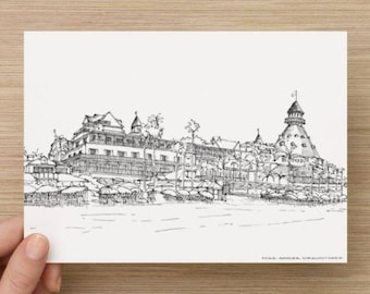 Ink Sketch of Hotel Del Coronado in San Diego, California - Drawing, Art, Pen and Ink, Coronado Island, Architecture, 5x7, 8x10, Print