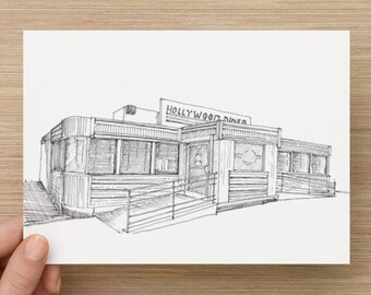 Ink sketch of Hollywood Diner in Baltimore, Maryland - Drawing, Art, Architecture, Restaurant, Pen and Ink, 5x7, 8x10, Print