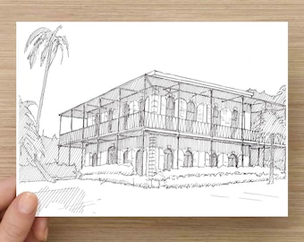 Ink Drawing of Ernest Hemingway House in Key West, Florida - Architecture, Sketch, 5x7 Print, Art, Illustration, Pen and Ink