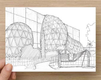 Ink Drawing of The Dali Museum in St. Petersburg, Florida - Architecture, Bench, Garden, Sketch, 5x7 Print, Art, Illustration, Pen and Ink