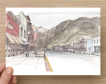 Ink and Watercolor Drawing of Main Street Telluride, Colorado - Ski Town, Mountains, Sketchhbook, Painting, Sketch, Art, 5x7, 8x10
