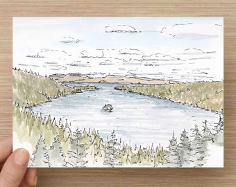 Watercolor Painting of Lake Tahoe - California, Ink Drawing, Sketch, Watercolor, Art, Pen and Ink, 5x7, 8x10