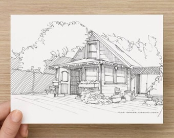 Ink Sketch of Mike's Ice Cream in Hood River, Oregon - Drawing, Art, Architecture, Shop, Summer, Building, Pen and Ink, 5x7, 8x10, Print