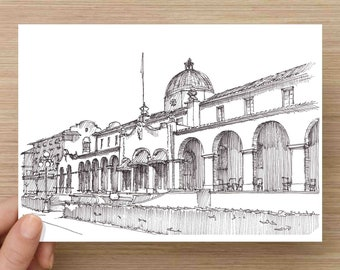 Pen and Ink Drawing of classic Quapaw Bathhouse in Hot Springs Arkansas - Architecture,d Sketch, Watercolor, Art, Pen and Ink, 5x7, 8x10