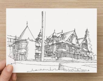 Ink Sketch of Winchester Mystery House in San Jose, California - Drawing, Art, Mansion, Architecture, History, Pen and Ink, 5x7, 8x10, Print