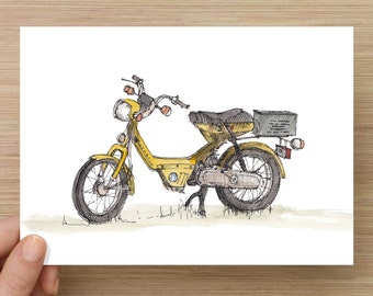 Ink and Watercolor Drawing of a Vintage Yellow Suzuki Moped - Scooter, 50cc, Motorbike, Sketchbook, Painting, Sketch, Art, 5x7, 8x10