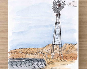 Working Windmill in front of Organ Mountains in New Mexico - Ranch, Water well, Ink Drawing, Sketch, Watercolor, Art, Pen and Ink, 5x7, 8x10