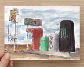 Ink and Watercolor Drawing of Highway Reststop in Utah - Oasis, Soda Cans, Coca Cola, Monster Energy, Painting, Sketch, Art, 5x7, 8x10