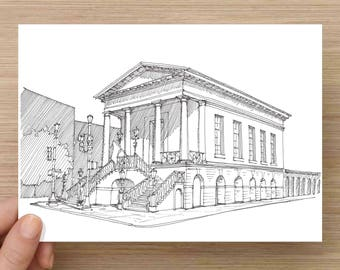Ink Drawing of the iconic City Market in Charleston, South Carolina - Art, Architecture, Sketch, Pen and Ink, Neo Classical, 5x7, 8x10