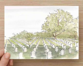 Ink and Watercolor Painting of Arlington National Cemetery near Washington DC  - Military, Headstones, History, Drawing, Art