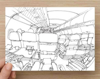 Pen and Ink Drawing of Airplane Cabin Interior - Flight, Travel, Airport, Interior Design, Sketch, Art, Pen and Ink, 5x7, 8x10