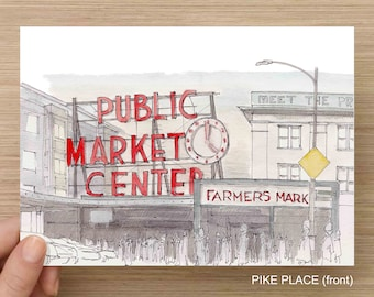 SEATTLE, WASHINGTON - Ink and Watercolor, Art Prints, Drawing, Pike Place, Space Needle, Gas Works, Alki Beach, Cityscape, Architecture,