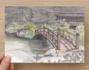 Ink And Watercolor Drawing Of Traditional Japanese Garden