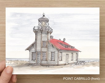 West Coast Lighthouses - Ink and Watercolor, Pen and Ink, Nautical, Art Prints, Drawing, Point Cabrillo, Yaquina Head, Battery Point