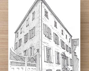 Ink Drawing of the Heyward Washington House in Charleston, South Carolina - Drawing, Art, Architecture, Sketch, Pen and Ink, 5x7, 8x10