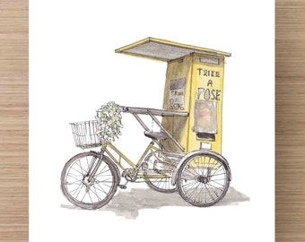 Pen and Ink and Watercolor Painting Trike A Pose mobile tricycle photobooth - Yellow Tricycle, Party, Wedding Ideas, Drawing, Art