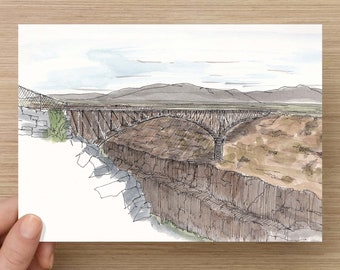 Ink and Watercolor Drawing of Rio Grande Gorge Bridge near Taos, New Mexico - River, Canyon, Steel Bridge, Painting, Sketch, Art, 5x7, 8x10