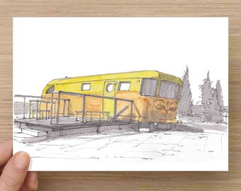Yellow Vintage RV at El Cosmico in Marfa, Texas - Campground, West Texas, Ink Drawing, Sketch, Watercolor, Art, Pen and Ink, 5x7, 8x10